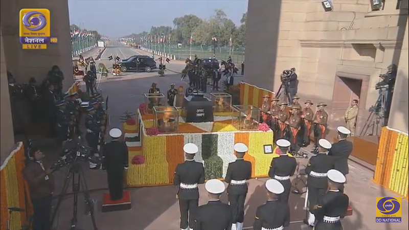 PM is Paying Tribute at Amar Jawan Jyoti