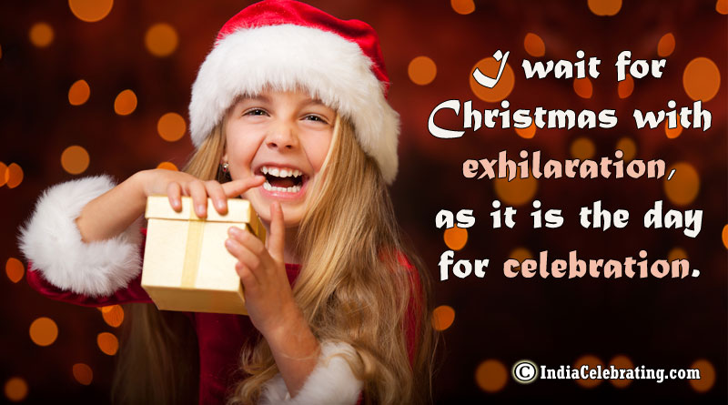 I wait for Christmas with exhilaration, as it is the day for celebration.