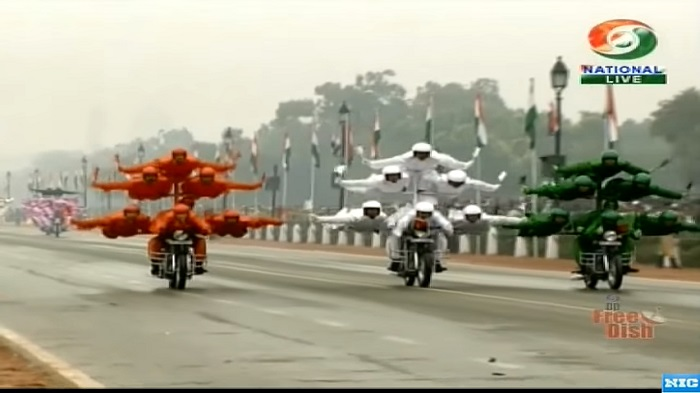 Dare devil stunts of motorbike riders of border security force