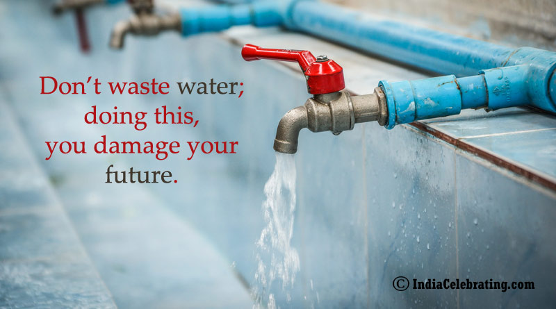 Don't waste water; doing this, you damage your future.