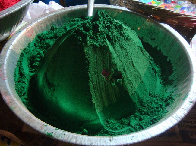 Green color to play Holi