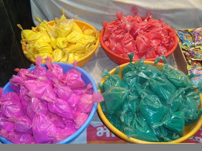 Holi colors in different shades